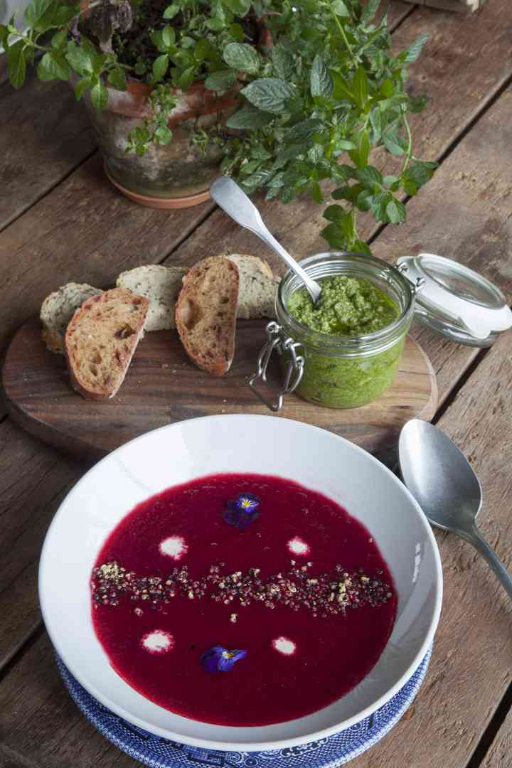 Beetroot Soup, Nettle Pesto, Fresh Bread